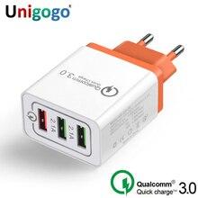"""טעינה מהירה 3.0 USB מטען האיחוד האירופי ארה""""ב תקע תשלום QC3.0 מהיר טעינה 3 יציאת נסיעות מטען קיר עבור iPhone סמסונג xiaomi Huawei"""