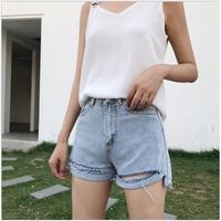 2017 Summer fashion bodycon holes high waist shorts women irregular denim shorts women