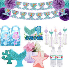 Mermaid Feestartikelen Gunst Doos Uitnodiging Stro Cake Topper Partij Hoed Fles Wrapper Banner Baby Shower Kids Verjaardag Decor(China)