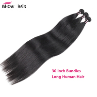 Ishow 30 Inch Bundles Brazilian Straight Hair Bundles 100% Human Hair Extensions 1/2/3/4/5Pcs/Lot Long Hair Non Remy Hair Weave