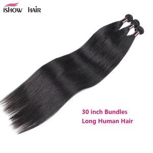 Mèches brésiliennes Non Remy lisses-Ishow | Mèches 100% naturelles, tissage de cheveux, longues, 30 pouces, lot de 1/2/3/4/5