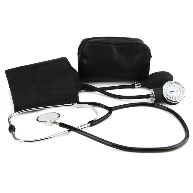 Health Care !New Blood Pressure Monitor Meter Cuff Stethoscope Kit Aneroid Arm Sphygmomanometer Portable Medical Measurement