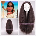 Free shipping 2016 New Movie Moana Wig synthetic long curly dark brown cosplay wig +a wig cap