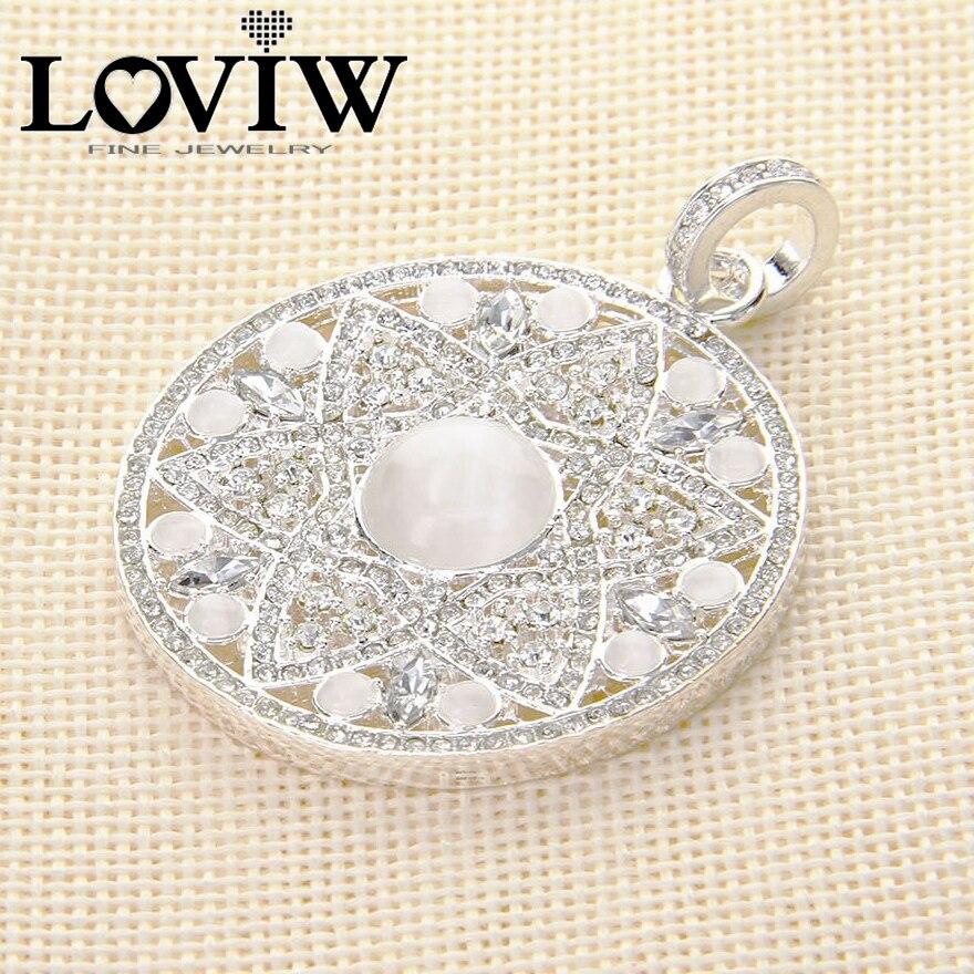 2017 nouveauté blanc opale fleur pendentif, Style européen 925 pendentif en argent, cadeau de mode Super affaire