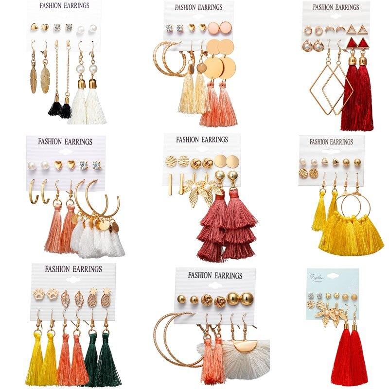 HOCOLE Fashion Bohemian Long Tassel Earring Set Silk Fabric Gold Vintage Drop Dangle Earrings For Women 2019 Jewelry