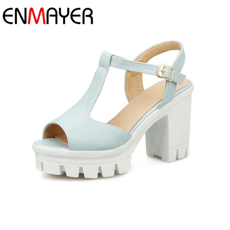 ENMAYER <font><b>Summer</b></font> new Sweet Platform Fashion High <font><b>Heels</b></font> Sandals <font><b>Casual</b></font> <font><b>Women</b></font> Shoes Rome <font><b>chunky</b></font> <font><b>heel</b></font> T-straps Sandals big Size 34-43