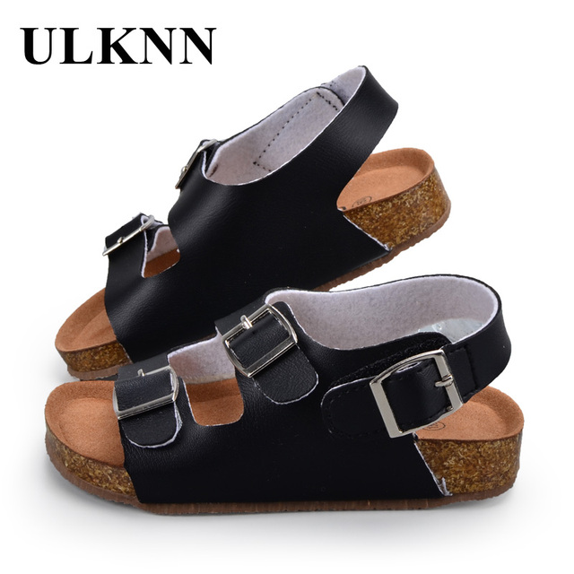 ULKNN Children Shoes Kids Sandals Boys Girls For School PU Leather  Breathable Flats Summer Beach Shoes b78ce9a48ffa