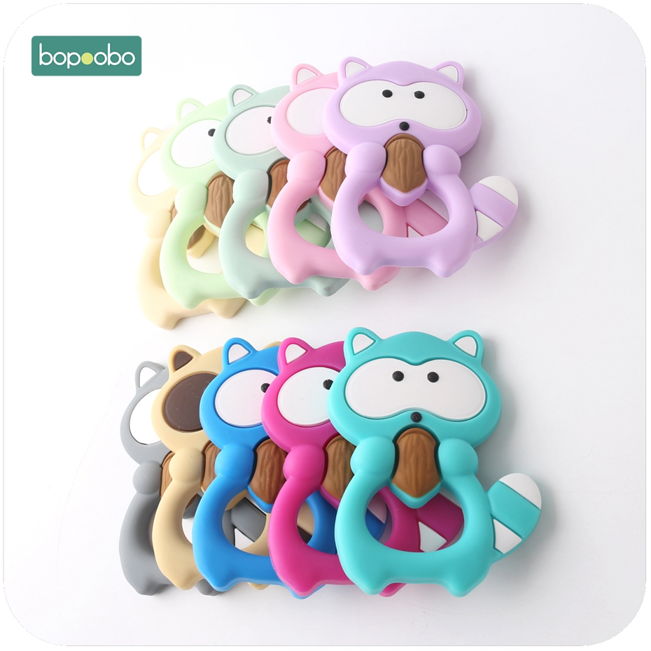 Bopoobo 1PC Silicone Teether Accessory Silicone Raccoon DIY Jewelry Nursing Accessories Food Grade Sensory Toys Baby Teether