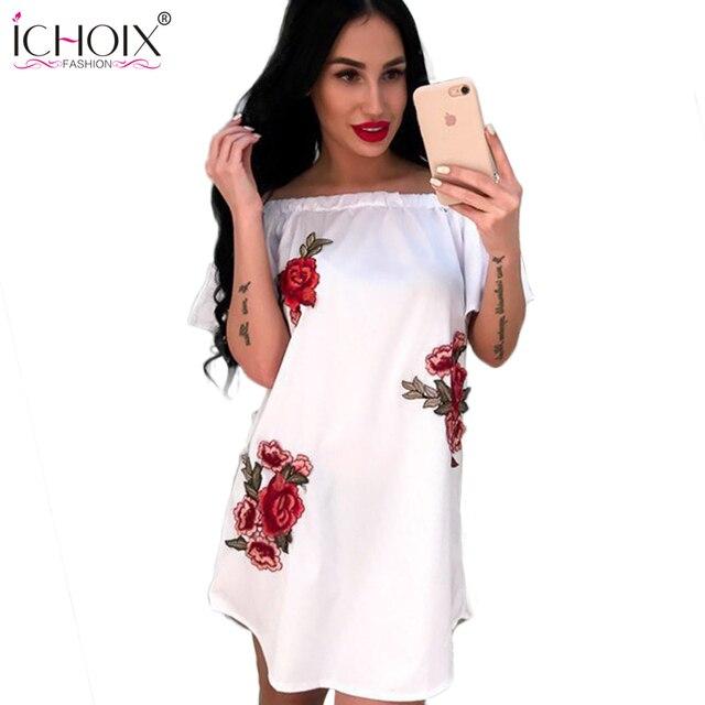 cc1a701400f 2018 New Women Floral Print Sexy off shoulder Summer dress A Line Boho  Style Short Party Beach Summer Sundress Dress Female