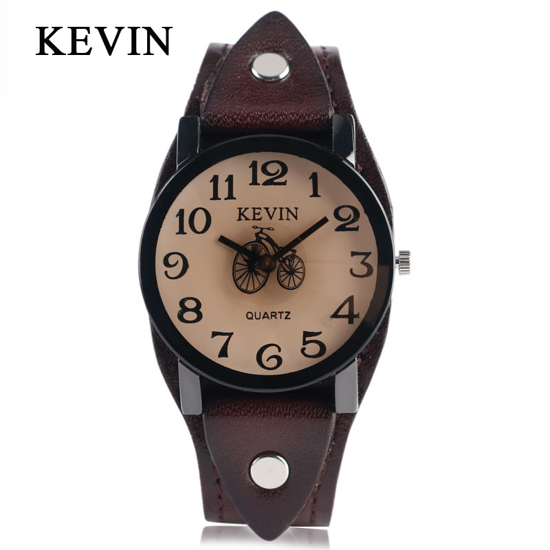 KEVIN New Fashion Men Women Wrist Watch with Leather Strap Steampunk Style Unique Bicycle Dial Quartz Analog Simple Watch Gifts paidu unique fashion truntable square dial design leather band men women quartz wrist watch dress hours male watch gifts relogio
