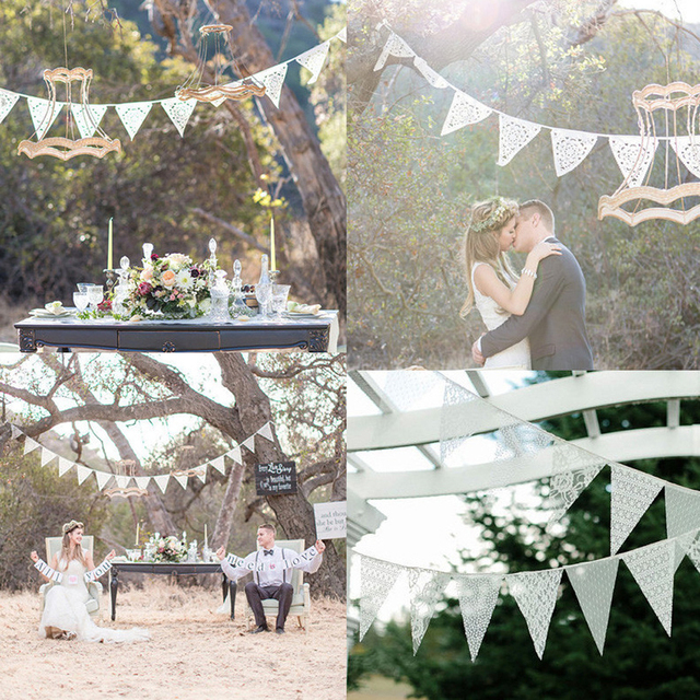 Wedding Decoration 12 Flags White Lace Cotton Flag Banner Pennant Wedding/Birthday  Party Decoration String