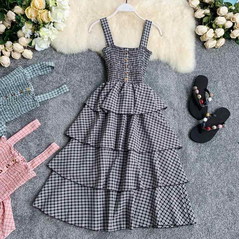 Рюшами тонкий моды дамы Кнопка Сексуальная плед печати летнее средней длины нарядное платье Вечерние Для женщин Спагетти ремень Повседневное пляжное платье Vestidos