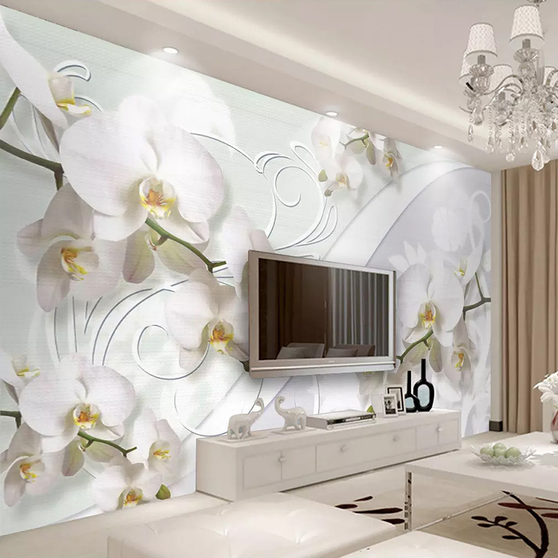 Custom 3D Wall Murals Wallpaper European Style Orchid Flower Pattern Living Room TV Background Wall Decor Painting Home Decor