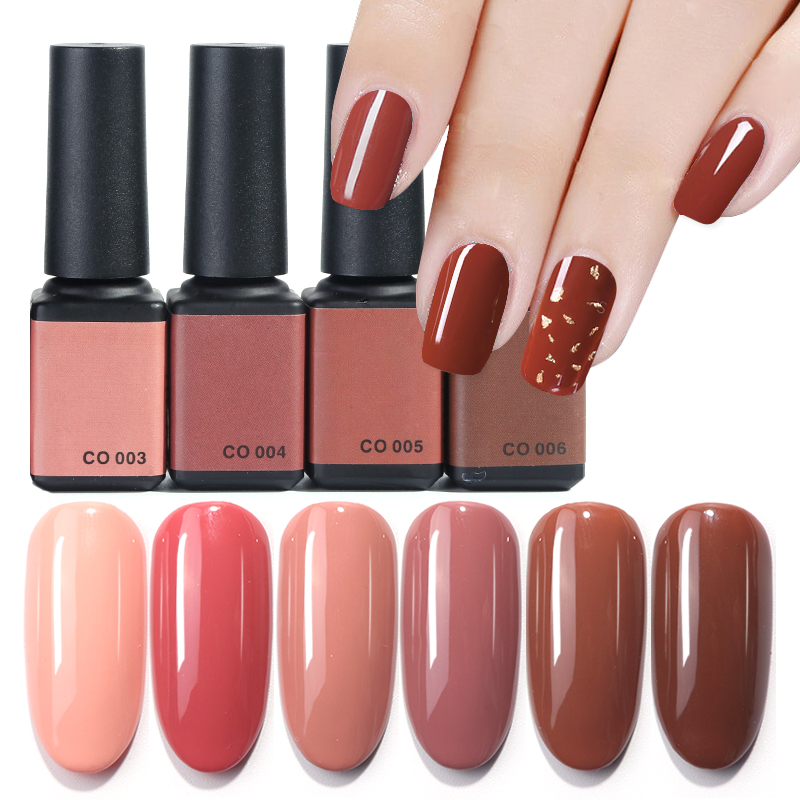 6ml Cafe Series UV Nail Art Gel Polish Pink Caramel Coffee Brown Pure Color Top Coat Soak Off Varnish Lacquer Manicure TRCO01-06(China)