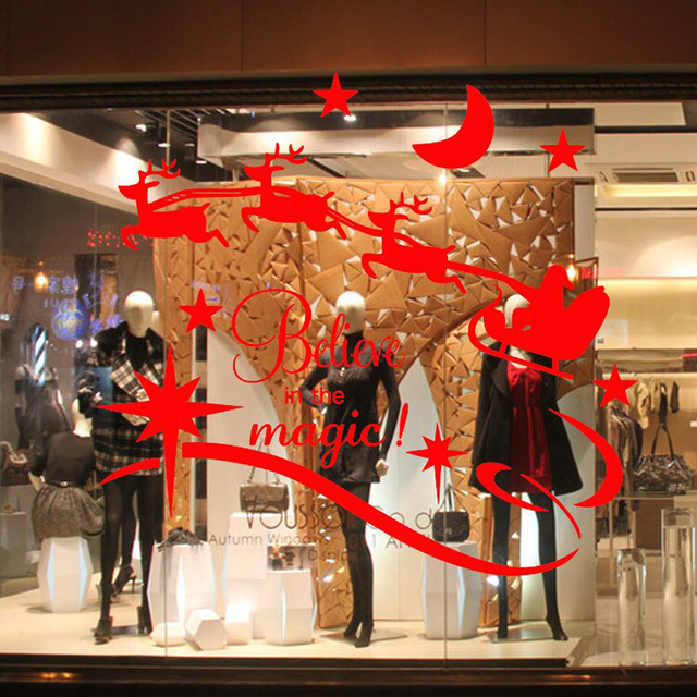 Windows sticker 2 colors removable christmas holiday display window decals large use in shop glass enchanting