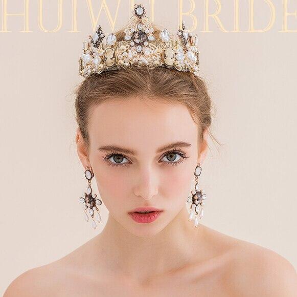 Vintage Baroque crown original crystal beads tiaras handmade bridal hair accessories wedding crown the Queens headband earrings