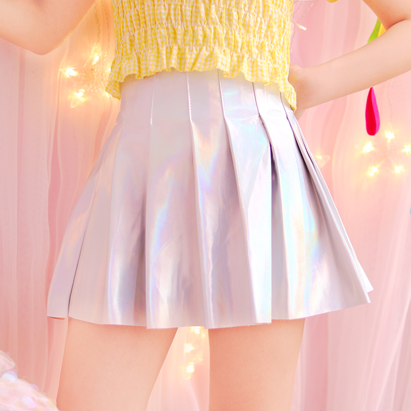 Helpful 2017 Women Silver Holographic Harajuku Style Shiny Laser Hologram Pleated Mini Skirt Korea Jk Stylelish High Waist Party Skirts Year-End Bargain Sale