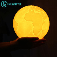 3D Print LED Earth Lamp Rechargeable LED Night Light Color Changing Moon Lamp Touch Switch For