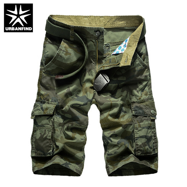 URBANFIND Military Style Men Cotton Cargo Shorts Size 29-38 Camouflage Pattern Man Casual Multi-pocket Shorts