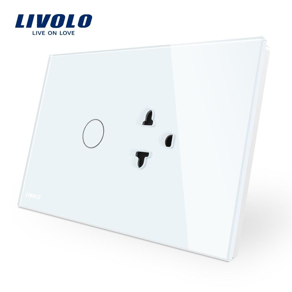 купить Livolo US/AU Standard Touch Switch+US Socket, with White Crystal Glass Panel, C9C1EA-11 онлайн