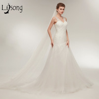 2018 Modest Bridal Dresses Mermaid Shiny Pha Lê Dài Giá Rẻ Wedding Dress V-Neck Lace Up Robe De Mariee Abiye Wedding Gowns