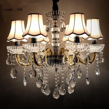Candelabros de cristal modernos iluminación del hogar lustres de cristal decoración de lujo candelabro colgantes sala de estar lámpara de interior
