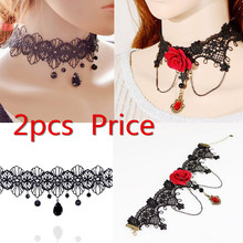 Free shipping! 2017 Hot Sale Fashion Hollow Black Lace Water Drop Pendant Necklace popular Female Wedding jewelry Lady Accessory