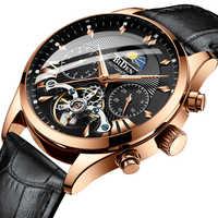 Top Marke Luxury Business Lederband Uhren Automatische Uhr Männer Tourbillon Wasserdichte Mechanische Uhr Relogio Masculino