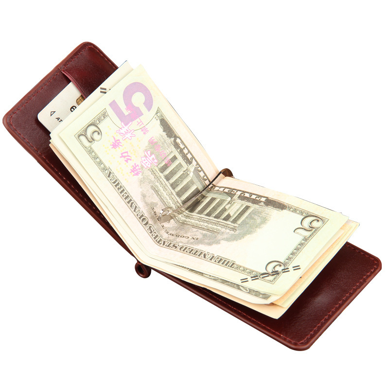 2019 Hot Sale Fashion New Men Money Clips Black Brown PU Leather 2 Folded Open Clamp For Money With Zipper Pocket