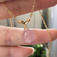 Natural Rose Quartz Women Star Light Necklace Pendant Ball Sphere Round Shape 11mm Mozambique Love Gift Crystal AAAAA