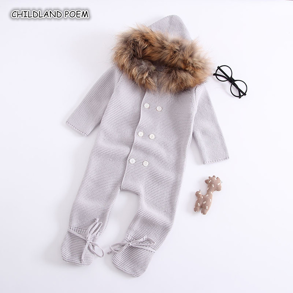 Baby Knitted Romper Autumn Winter Baby Boys Romper Faux Fur Woolen Newborn Infant Baby Knit Clothes Long Sleeve Boys Jumpsuit