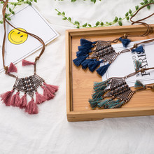Vintage Boho Bohemian Ethnic Statement Tassel Pendant Necklace for Women Sweater Chain Choker Jewelry Accessories Gifts(China)