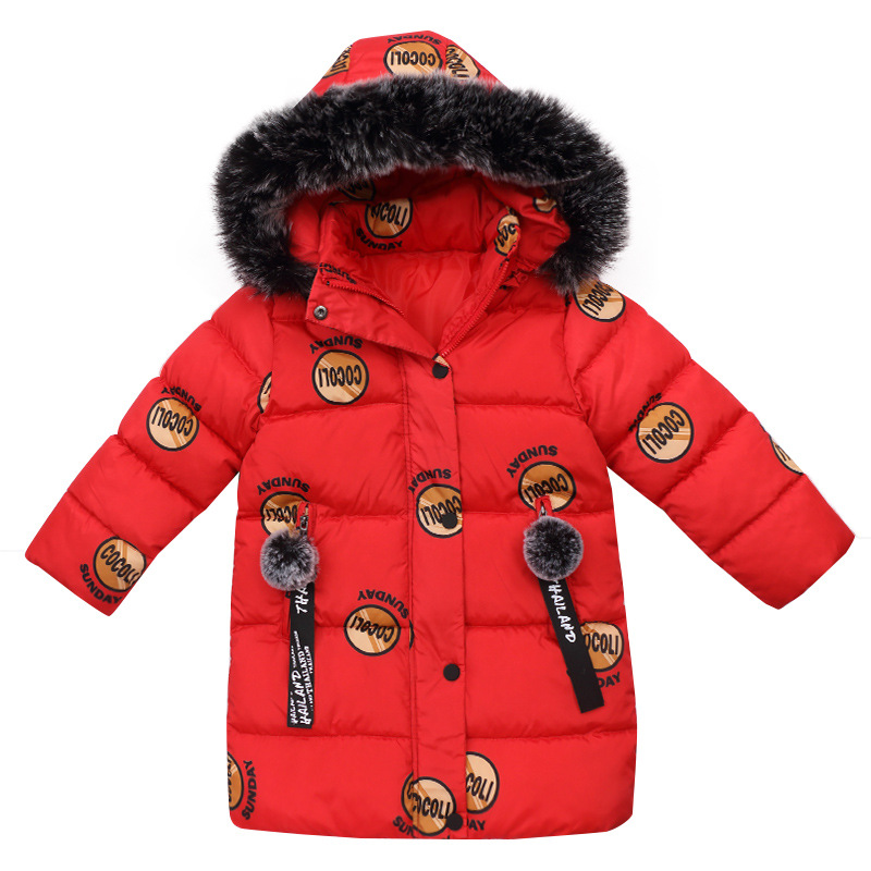 Children Outerwear Warm Coat Girls Winter Jacket 2017 Kids Clothes Zipper Stand Collar Circle Letter Cotton-padded Clothes Joker good quality children winter outerwear 2016 girls cotton padded jacket long style warm thickening kids outdoor snow proof coat