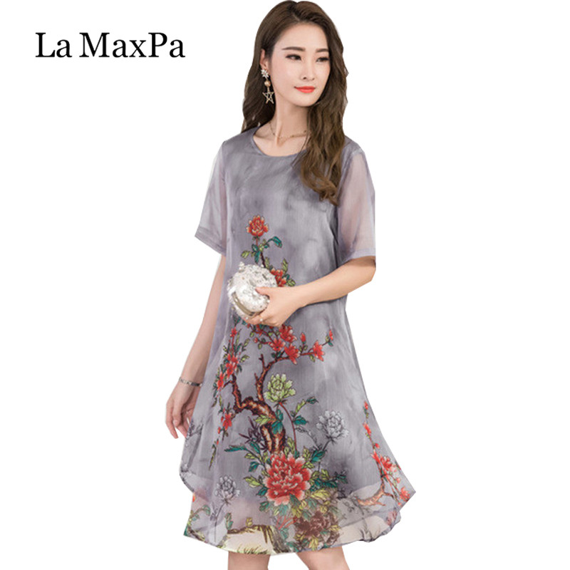 La MaxPa 2019 Women Summer Dress Floral Print Chiffon Dress Casual O-neck Short Sleeve Loose Dresses Long Plus Size Vestidos