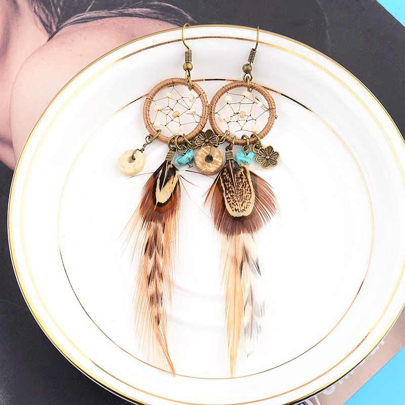 Ethnic Long Bohemia Feather Beaded Earrings For Women Dreamcatcher Round Wood Indian Gypsy Hippie Earrings Boucle D'oreille