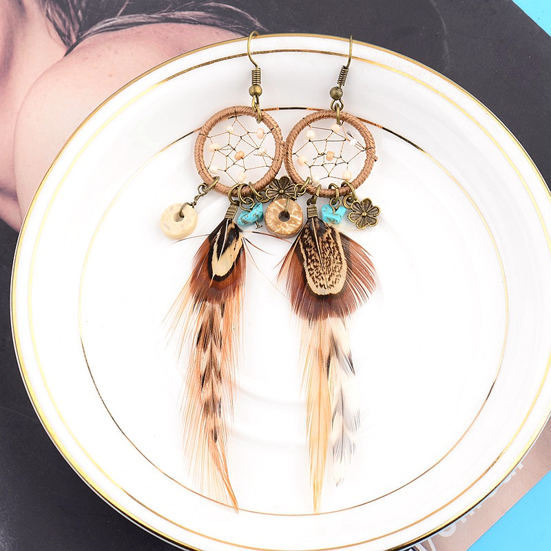 Ethnic Long Bohemia Feather Beaded Earrings For Women Dreamcatcher Round Wood Indian Gypsy Hippie Earrings Boucle D'oreille