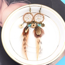 Ethnic Long Bohemia Feather Beaded Earrings For Women Dreamcatcher Round Wood Indian Gypsy Hippie Earrings Boucle D'oreille dreamcatcher design feather drop earrings