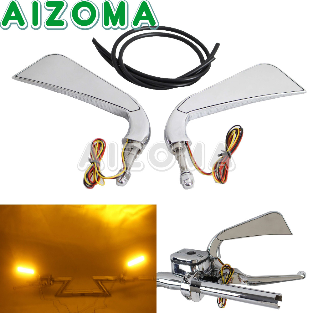 CNC Milled Aluminum Motorcycle Chrome Mirror LED Turn Signals For Harley Davidson 5/16