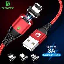 Floveme 3A Magnetic USB Kabel USB Mikro Tipe C USB Kabel untuk iPhone 1 M Pengisian Cepat Kawat Nilon LED Magnetik charger Data Kabel Cabo(China)