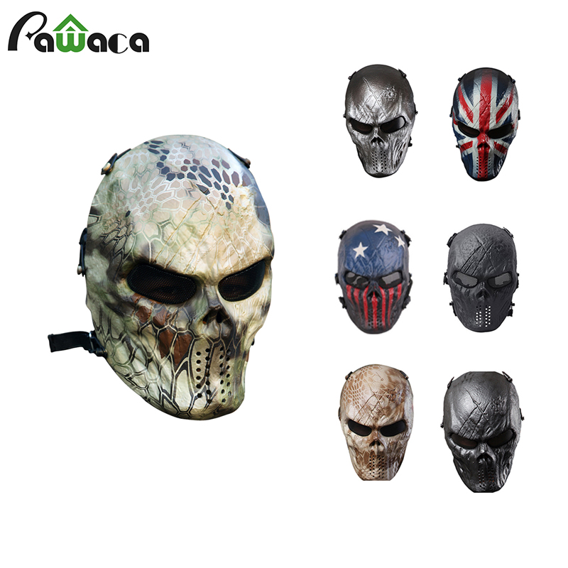 Outdoor Military CS Wargame Paintball Airsoft Skull Full Face Mask Camouflage Hunting Mask Party Costume Cosplay Mask For Adult