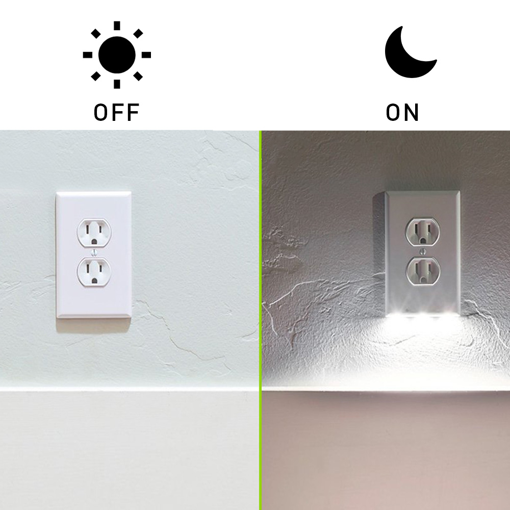 Us 3 59 10 Off Wall Outlet Cover Plate With Led Lights Safty Light Sensor Plug Coverplate Socket Switch Stickers For Bathroom Bedroom In
