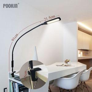 Image 3 - זרוע ארוכה מנורת שולחן קליפ משרד Led שולחן מנורת שלט רחוק מוגן עין מנורת עבור שינה Led אור 5 רמת בהירות & צבע
