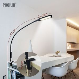 Image 3 - Long Arm Table Lamp Clip Office Led Desk Lamp Remote Control Eye protected Lamp For Bedroom Led Light 5 Level Brightness&Color