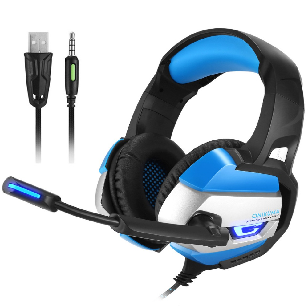 ONIKUMA K5 Best Gaming Headset Gamer Stereo Deep Bass LED Gaming Headphones for PC Laptop Notebook Computer PS4 with Microphone