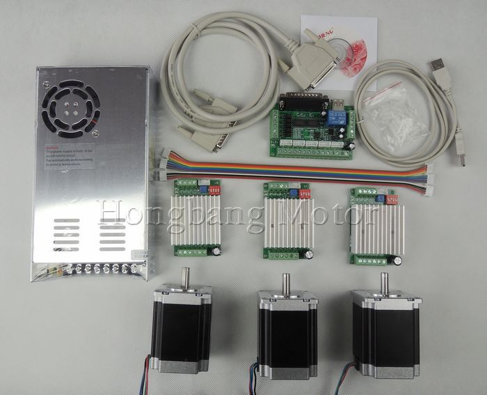 CNC Router Kit 3 Axis, 3pcs TB6600 4.5A stepper motor driver +3pcs Nema23 270 Oz-in motor+5 axis interface board+power supply