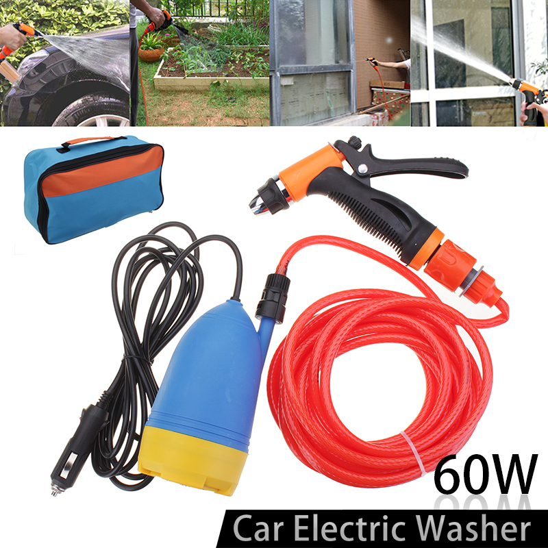 12V 60W High Pressure Car Electric Washer Kit universal for Home Car washer Copper nozzle with  pump Car Washing Machine