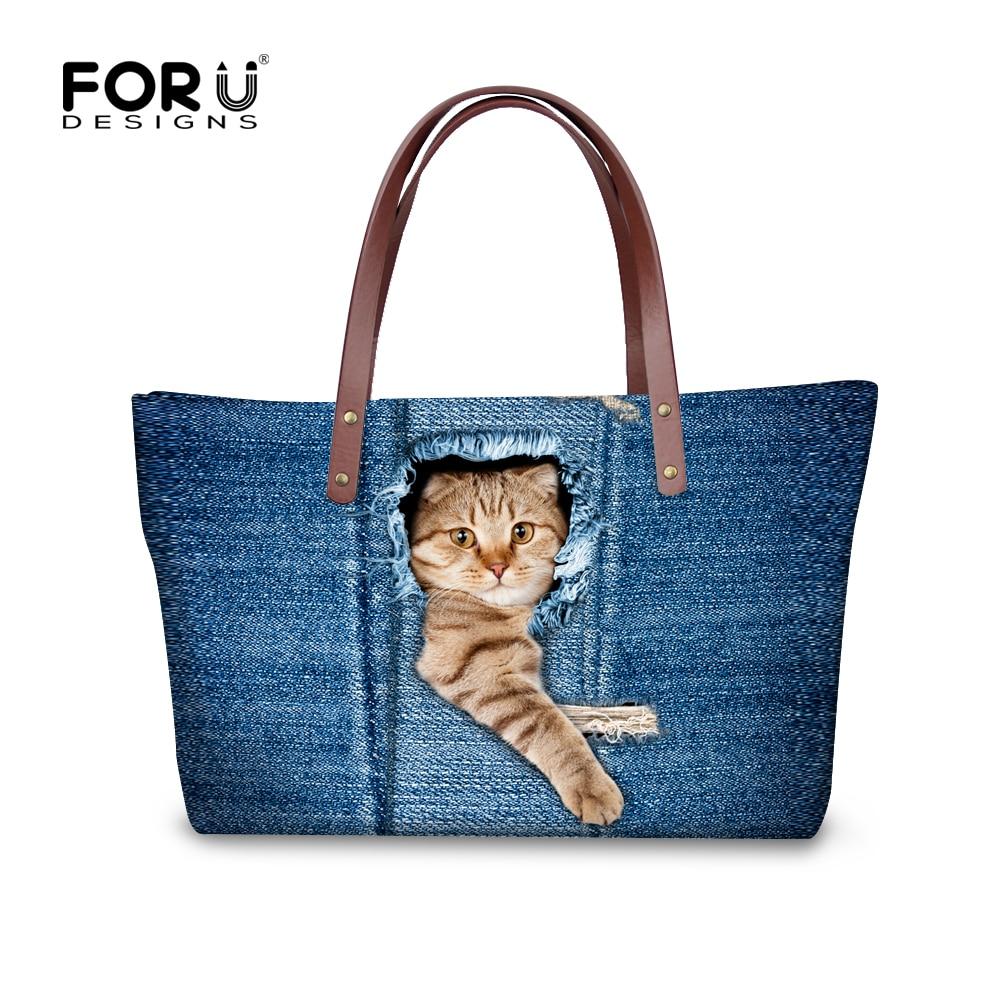 FORUDESIGNS 블루 3D 고양이 개 여성 핸드백 캐주얼 숄더 백 여성용 크로스 바디 백 토트 Bolsas 여성 메신저 백 여성용