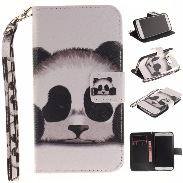 Cool PU Leather Wallet Case for coque Samsung Galaxy S7 s 7 g930f sm-g930f panda Cover Case for samsung galaxy s7 fundas capa