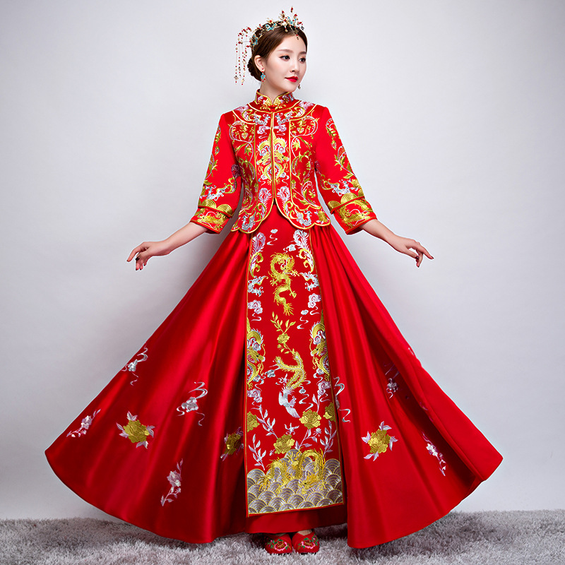 Wedding Gowns In China: Red Traditional Chinese Gown Wedding Dress 2019 New Woman