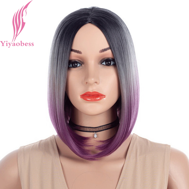 Yiyaobess 12inch Black Grey Purple Ombre Short Straight Bob Wig Synthetic Hair Middle Part Wigs For Women